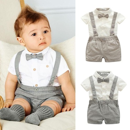 Kacakid Baby Boy Child Toddler Gentleman Suit +Bow Tie+Suspender Trousers Pants Suit Suspenders Style Short Sleeve Shirt + Short 2Pcs - Kids Slim Fit Suits