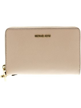 Michael Kors Women's Jet Set Travel Leather Continental Wallet Wristlet - Soft Pink