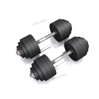 105 lbs Adjustable Dumbbell Weight Set of 2 Black Plated Cast Iron