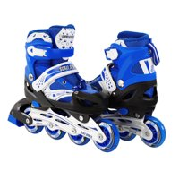Size 2-4 Adjustable Kids Light Up Inline Skates Blue