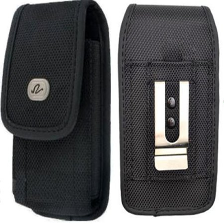 Vertical Rugged Canvas Case Cover Holster with Fixed Belt Clip and Belt Loop FOR Cricket Kyocera Hydro View * Fits phone w/ Single Layer Case on it * ()