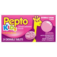 Pepto Kids Bubblegum Flavor Chewable Tablets for Heartburn, Acid Indigestion, Sour Stomach, and Upset Stomach for Children 24 ct