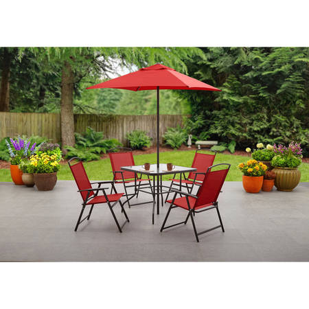 Mainstays Albany Lane 6-Piece Folding Dining Set, Multiple (Friends Furniture Set)