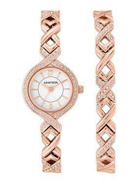 Women's Rose Gold Round Dress Watch Set