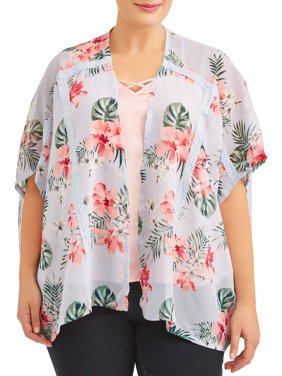 Women's Plus Size Open Front Floral Print Kimono with Crochet Trim