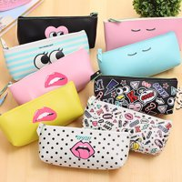 Girl12Queen Cute Pencil Case Faux Leather Pen Bag School Office Stationery Storage Pouch