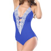 d6d2b41b48 Women's Slimming One-Piece Swimsuit Lace Deep V-Neck Halter Swimwear  Bathing Suits