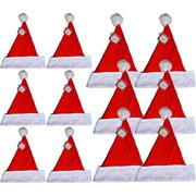 32846bccd0145 Felt Holiday 6 Medium   6 Large Christmas Red Santa Hat With Plush Cuff (12