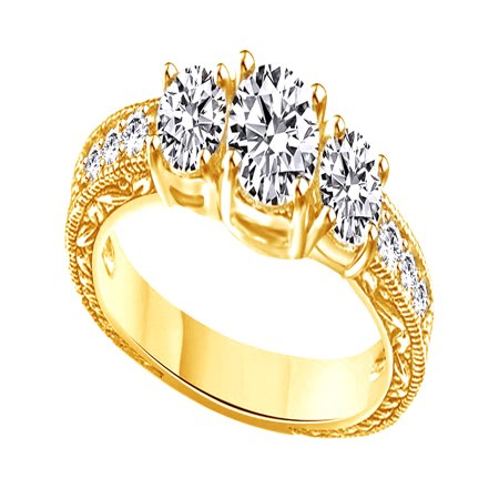 White Cubic Zirconia Vintage Style Three Stone Promise Ring In 14k Yellow Gold Over Sterling Silver
