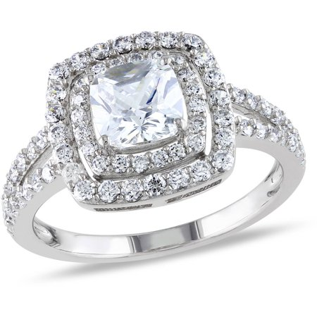 - Miabella 3 Carat T.G.W. Cushion and Round-Cut Cubic Zirconia Sterling Silver Double-Halo Engagement Ring