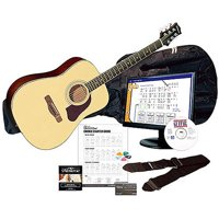 Silvertone SD3000 Natural Complete Acoustic Guitar Package with Instructional Software, Tuner, Gig Bag and more
