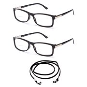 f7b1afb8cb 2 Pack Slim Fit Round Spring Temple Bifocal Reading Glasses Black Frame