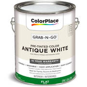 ColorPlace Pre Mixed Ready To Use, Interior Paint, Antique White, Flat Finish, 1 Gallon