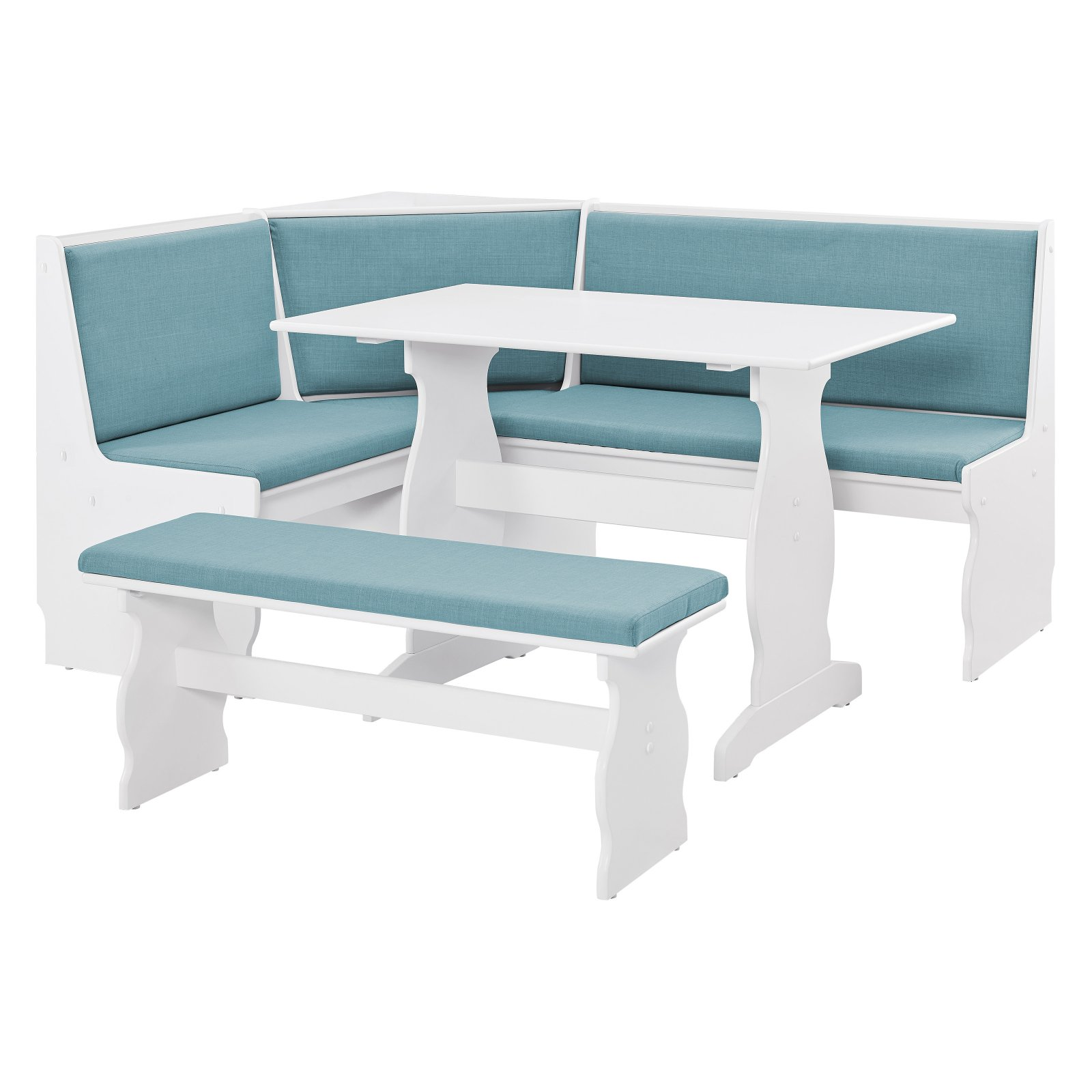 Linon Sasha Capri Nook, Blue And White, Includes Corner Unit, Table And  Bench