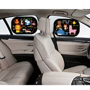 Cartoon  Car Side Window Sun Shade Visor Protector Static Film (2 Packs) Block Harmful UV Rays