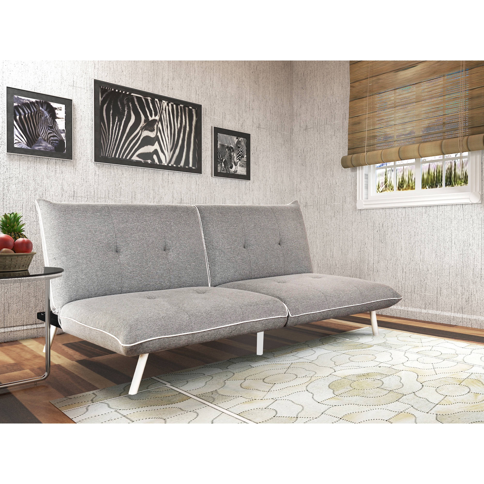Mainstays Extra Large Futon With Contrast Piping Grey White