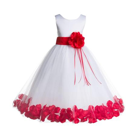 Ekidsbridal Formal Satin Floral Petals Rose Tulle White Flower Girl Dress Bridesmaid Wedding Pageant Toddler Easter Holiday Recital Communion Birthday Baptism Ceremony Special Occasions 007 - Girls Easter Dresses Size 8