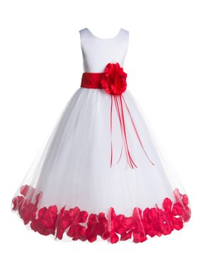 Ekidsbridal Formal Satin Floral Petals Rose Tulle White Flower Girl Dress Bridesmaid Wedding Pageant Toddler Easter Holiday Recital Communion Birthday Baptism Ceremony Special Occasions 007