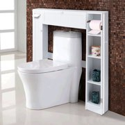 Costway Wooden Over The Toilet Storage Cabinet Drop Door Esaver Bathroom White