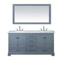 Stufurhome Newport Grey 60 inch Double Sink Bathroom Vanity with Mirror