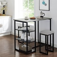 Mainstays 3-Piece Metal Pub Set with Faux Concrete Top, Gray, Black