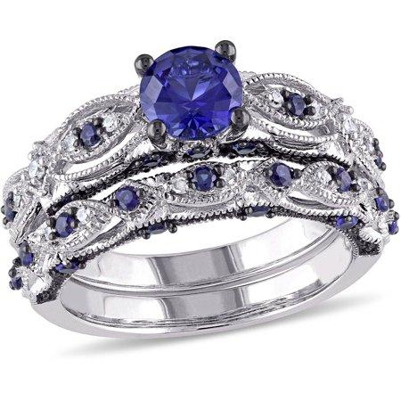 Vintage Bridal (2 Carat T.G.W. Created Blue Sapphire and 1/10 Carat T.W. Diamond 10kt White Gold Milgrain Design Vintage Style Bridal)