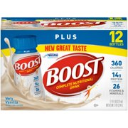 Boost Plus Complete Nutritional Drink Very Vanilla, 8 fl oz Bottles, 12 Count