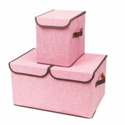 Storage Bins, Set of Two Foldable Storage Box with Lids and Handles Storage Basket Storage Containers Organizer Fabric Closet Drawer, Double Cover Box & Single Cover Box (Pink)