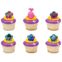 24 Troll Trolls Movie Cupcake Cake Rings Birthday Party Favors Toppers