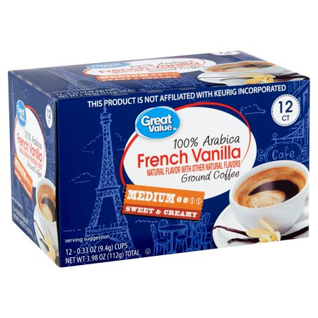 - Great Value 100% Arabica French Vanilla Coffee Pods, Medium Roast, 12 Count