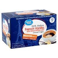 Great Value 100% Arabica French Vanilla Medium Ground Coffee, 0.33 oz, 12 count