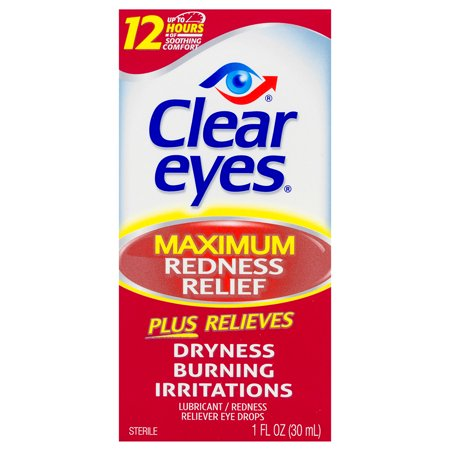 Clear Eyes Maximum Redness Relief Eye Drops, 1.0 FL OZ (Stress Relief Drops)