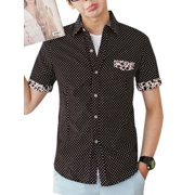 fbf2ee31 Men's Dots Prints Mock Pocket Front Point Collar Shirt Coffee Brown M
