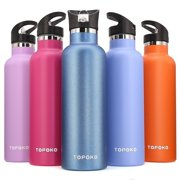 25 OZ Straw Lid Vacuum Insulated Stainless Steel Water Bottle Sweat Proof Leak Free Thermos Hot Cold Water Bottle/Standard Mouth, Hydration, Travel Mug, Reusable Flask-Purple