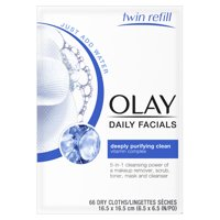 Olay Daily Facial Cleansing Cloths, Makeup Remover, 66 Count