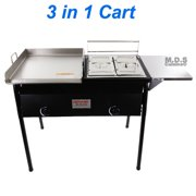 Taco Cart w/ Griddle 18x16 Stainless Steel Double Deep Fryer 2 Deep Trays 3 in 1