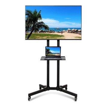 SmileMart Metal Adjustable Modern Mobile Rolling TV Stand