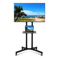 Deals on SmileMart Metal Adjustable Modern Mobile Rolling TV Stand Cart