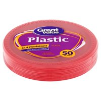 """Great Value Red Plastic Lunch Plates, 9"""", 50 Count"""