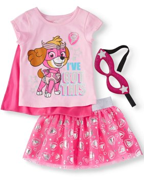 Toddler Girls' T-Shirt, Tutu Skirt and Headband, 3-Piece Outfit Set