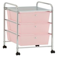 Urban Shop Plastic 3 Drawer Rolling Organizer Storage Cart, Multiple Colors