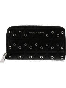 Michael Kors Women's Large Flat Phone Case Leather Wristlet - Black