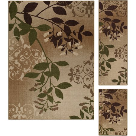Mainstays Belvedere Tan Leaves 3 Piece Loop Pile Print Area Rug Set