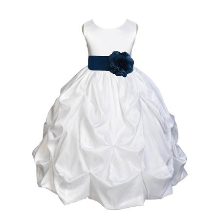 Ekidsbridal Taffeta Bubble Pick-up White Flower Girl Dress Weddings Summer Easter Dress Special Occasions Pageant Toddler Girl's Clothing Holiday Bridal Baptism Junior Bridesmaid First Communion - Girls Country Dress