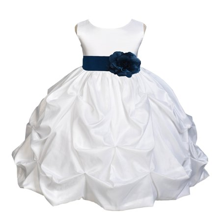 Ekidsbridal Taffeta Bubble Pick-up White Flower Girl Dress Weddings Summer Easter Dress Special Occasions Pageant Toddler Girl