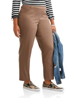 Women's Plus-Size 2-Pocket Pull-On Stretch Woven Pants, Available in Regular and Petite Lengths