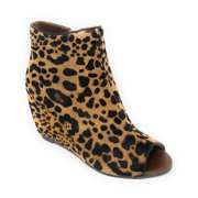 2c6570fd1 Naughty Monkey Women s Kuda Leopard Wedged Booties NMWE0097-963
