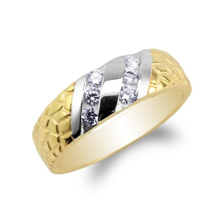 JamesJenny Womens 14K Yellow Gold Two Tone Unique Pattern Wedding Band Ring Size 4-10 ()