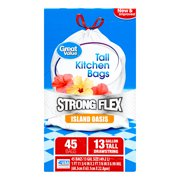 Great Value Strong Flex Tall Kitchen Drawstring Trash Bags, Island Oasis, 13 Gallon, 45 Count