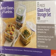 Better Homes & Gardens Rectangular Food Storage Containers, Glass, Set of 8